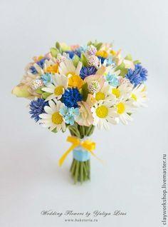 Букет невесты с полевыми цветами, свадебные цветы, цветы из полимерной глины,  wedding flowers, Bridal bouquet, wedding bouquet, deco clay
