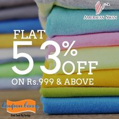 #Fashion #Sale - Flat 53% off on Rs.999 & Above at #AmericanSwan! Visit : http://www.couponcanny.in/american-swan-coupons/