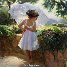 LITTLE GIRL UMBRELLA, painting, pictures on Volegov.com