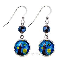 Starry Night Art Glass Earrings! A Starry Night glass tile is set in a sterling silver plated bezel and embellished with Czech glass beads! These Starry Night earrings have Sterling Silver French wires and are handcrafted in the U.S. with Free U.S. Shipping Everyday!