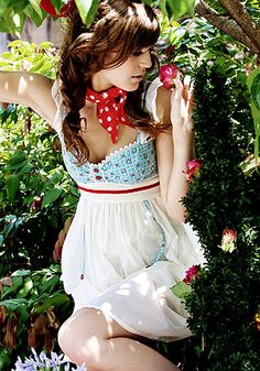 Kitten D'Amour - Day Dress - new vintage, blue, white, red, floral, buttons, hitch  Buy Recent Collections: http://www.kittendamour.com/brand_collections  Buy & Sell Old Collections: https://www.facebook.com/groups/1384135828515551/