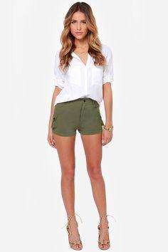 Close Ranks Army Green Shorts at LuLus.com!