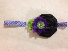Purple Green & Black are the colors that make this Halloween headband perfect for your little girls matching accessory to her Halloween