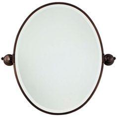 "Minka 24 1/2"" High Oval Brushed Bronze Bathroom Wall Mirror | LampsPlus.com"