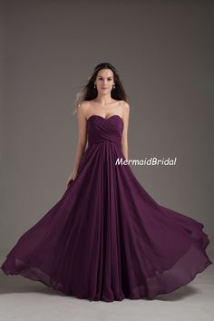 Sweetheart neckline Grape Long Bridesmaid dress,Chiffon Bridesmaid Dress Corset Back,A line Bridemaid Gown on Etsy, $129.99