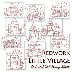 Redwork Little Village Machine Embroidery Patterns / Designs - 4x4 and 5x7 Hoop - 10 Whimsical Home House 2 Sizes INSTANT DOWNLOAD