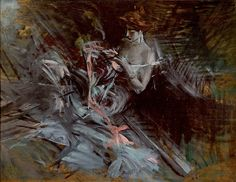 Giovanni Boldini, Dance dress (lady who sews; interior with young intent on sewing), 1904 ca. Oil on wood, 27x35 cm. Collection of Fine Arts Cariparma Foundation, donation Renato Bruson