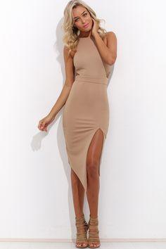 Said Too Much Midi Dress, Mocha, $59 + Free express shipping http://www.hellomollyfashion.com/said-too-much-midi-dress-mocha.html