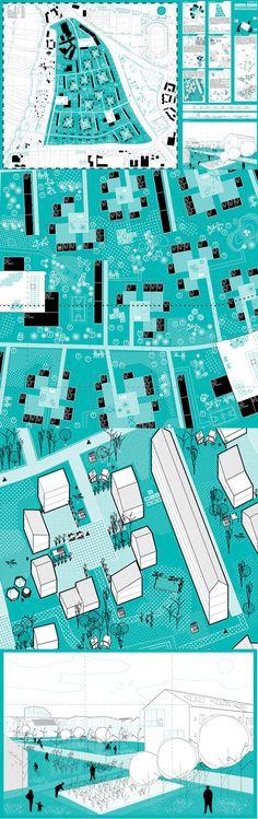 Paneles de color unico, mas de Arenas / Basabe / Palacios // Concurso para el desarrollo urbano de la antigua base militar Askren Manor - Schweinfurt, Alemania, 2014