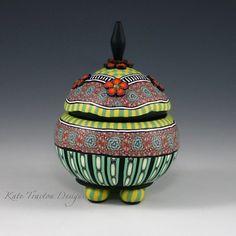 "Orange Fleur Pot  ·  (Size: 3.5"" tall x 2.5"" dia)  ·  SOLDpolymer clay over wood, Swarovski crystals"