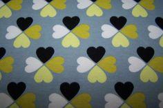 Hamburger Liebe Bio Interlock Glücksklee Herz grau gelb schwarz Meterware
