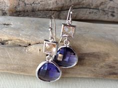 Purple Amethyst and Champagne Crystal Rhodium by MiaCocoDesigns, $26.00