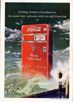 1949 Vending Machine In Heaven Classic Coca Cola Ad