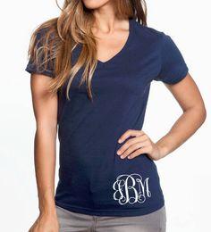 Monogram V Neck Shirt , Women's Monogram Clothing Bride Honeymoon Gift by PalmettoStateDesign on Etsy https://www.etsy.com/listing/510888506/monogram-v-neck-shirt-womens-monogram