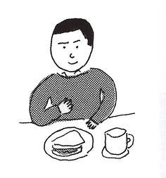 Haruki Murakami with Sandwith -  illustrated by Mizumaru Anzai|水丸さんの村上春樹