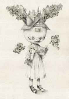 These are the soft shaded drawings of Roby Dwi Antono. The artist mentions being inspired by Mark Ryden and Marion Peck, and you can definitely see the influence of the children's book style imagery, plus the animals and overall bizarreness.