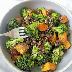 Warm puy lentil, broccoli & sweet potato salad - Don't Feed After Midnight