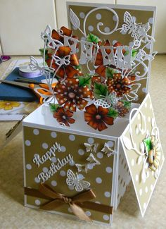 Hi guys just another quickie post to let you know that I am getting addicted to these pop up box cards - this time they are in brown and th...