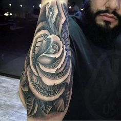 Outer Forearm Guys Money Rose Flower Tattoo 3d Style