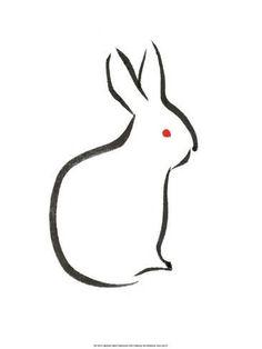 japanese drawings simple rabbit drawing line animal easy ink