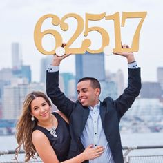 Large Save the Date signs are a fun and unique way to tell everyone that you have a wedding date set! Perfect for you engagement photography session. This photo prop is so much fun! Send out a Save th
