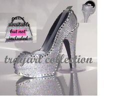Gem Bling sparkle High Heel Shoe TAPE DISPENSER - Stiletto Platform - office supplies - trayart collection. $29.50, via Etsy.