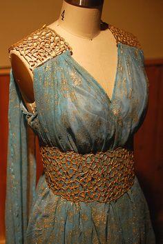 Daenerys Targaryen Blue and Gold Dress Gown - Qarth - Game of Thrones Costume