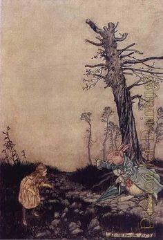 Arthur Rackham - Alice in wonderland down the rabbit hole - Oil painting reproduction
