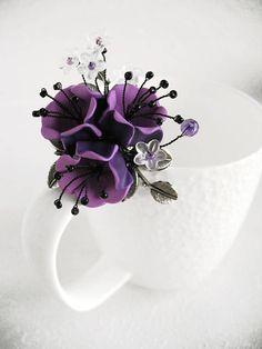 Brooch Purple sunset Pin Polymer clay jewelry Flower Brooch