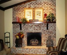 white wash brick Fix My Room Series: How To Freshen Up a Brick and Mortar Fireplace . Fireplace Mortar, Exposed Brick Fireplaces, Brick Fireplace Mantles, White Wash Brick Fireplace, Brick Fireplace Makeover, Fireplace Remodel, Fireplace Design, Fireplace Ideas, Paint Fireplace