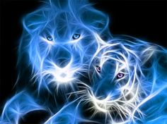 Blue tiger and lion fractal - Cats & Animals Background Wallpapers ...