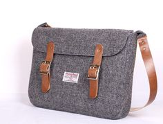 Harris Tweed Charcoal Satchel