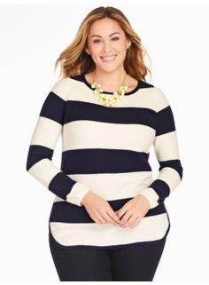 7c45216d887d9 Stripe Piqué Curved-Hem Sweater Simple Closet