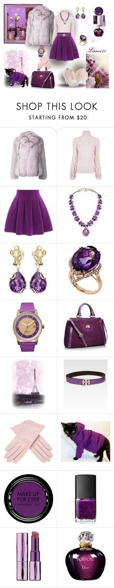 """""""winter purple"""" by lumi-21 ❤ liked on Polyvore featuring Piazza, Mathieu Mirano, Vicedomini, Deborah Liebman, Miseno, Effy Jewelry, Triwa, Tory Burch, Buscarlet and MAKE UP FOR EVER"""