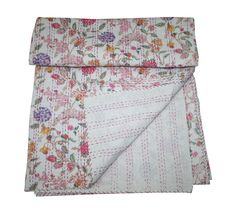 Hand Block Printed Floral Handmade Cotton Kantha Quilts Throw Bedspread Decor #Handmade #Traditional