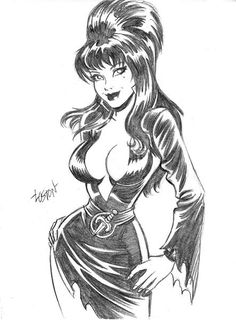 Back when Claypool Comics was still in existance, I had the honor of pencilling several ELVIRA, MISTRESS OF THE DARK stories. It was a privilege to work. Mistress of the Dark Pin Up Drawings, Sexy Drawings, Girl Cartoon, Cartoon Art, Cartoon Head, Dark Fantasy, Fantasy Art, Dibujos Pin Up, Cassandra Peterson