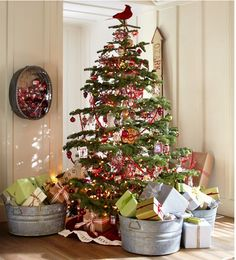 Christmas at Pottery Barn | Interior Heaven love the galvanized buckets so for easy travel for each family!!!