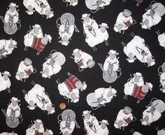 Grandma Knitting Sheep  FQ  18 x 20 by Sheepinspiration on Etsy
