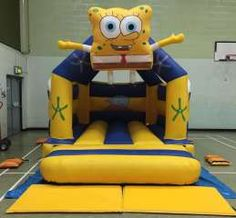 This sponge bob theme Bouncy Castle is one of our most popular bouncy castles and is great if your looking for a castle that really stands out and looks very cool . Comes with a sewn in rain cover and it's suitable for up to 6-8 children at a time. The front panels feature a massive sponge bob that blows up with the castle and hand painted art work on the back wall.