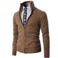 H2H Mens Casual Knitted Cardigan Zip-up with Twisted Pattern BEIGE US M/Asia L (KMOCAL017) $57.50 #H2H