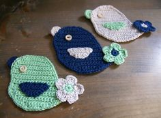 Set of 3 crocheted applique birds by MotivesAndPatterns on Etsy, $9.99