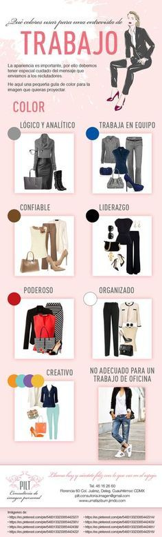 What colors to use for a job interview Learn what each color means to choose the best Outfit for tha Fashion Mode, Office Fashion, Work Fashion, Fashion Outfits, Womens Fashion, Fashion Tips, Looks Style, Casual Looks, Mode Geek