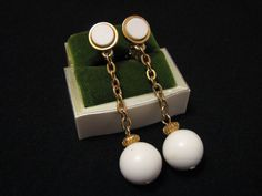 Vintage Gold Tone and White Lucite Chained Ball Dangle by ditbge, $6.25