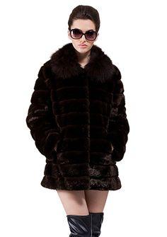 821394820 Octavia/faux dark brown mink fur/short fur coat Faux Jacket, Vest Jacket