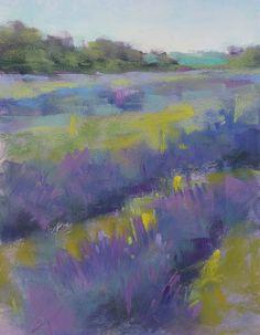 LAVENDER Field Original Pastel Painting by KarenMargulisFineArt, $145.00
