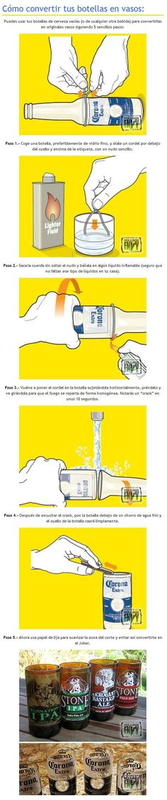 Convierte tus botellas en vasos de vidrio facilmente