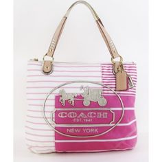 beige sateen coach bag with teal lining   Coach Pink and White Striped Poppy Patchwork Glam Tote