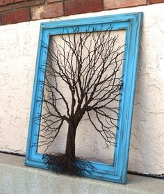 Amy Giacomelli Painting Original Large Tree Abstract Sculpture ... Wire tree on aqua vintage salvaged frame. $325.00, via Etsy.: