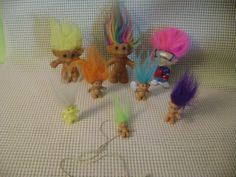 """8 TROLL doll toy LOT RUSS ACE BURGER KING etc glow in dark 3""""  and mini necklace #RussAceetc #Dolls"""