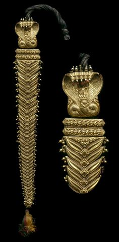 India | Hair ornament; gold and gemstones, cloth cord | 19th century  |||  {GPA)